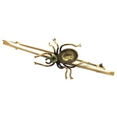 Vintage Silver Green Stone Fly Pin