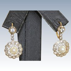 Estate 14 K Two Tone Paste Cultured Pearl Earrings