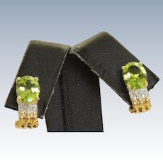 Estate 14 K 2 CT Peridot Diamond Earrings