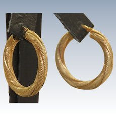 Estate 14 K Italian Textured Large Hoops