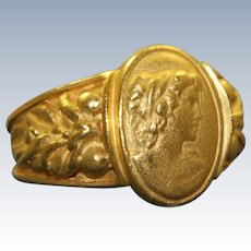 Estate 23 K Solid Gold Cameo Ring