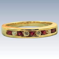 Estate 14 K Hammerman Bros Ruby and Diamond Half Eternity Band