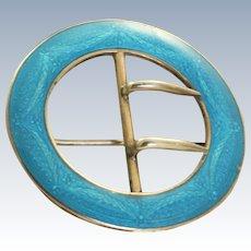 Sterling Guilloche Enamel Belt Buckle Scarf Pin