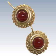 Estate 14 K Carnelian Etruscan Revival Dangle Earrings