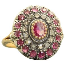 Vintage 18 K/Sterling Ruby and Rose Cut Diamond Ring