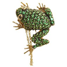 Estate 14 K Tsavorite Garnet Frog Pin/Pendant