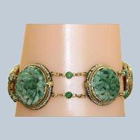 Vintage 14K  Carved Jade Seed Pearl Bracelet
