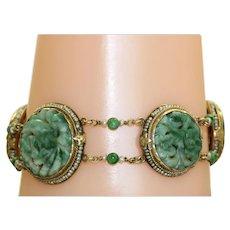Vintage 14 K  Carved Jade Seed Pearl Bracelet