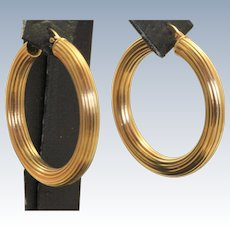 Italian 14 K Large Textured Hoop Earrings