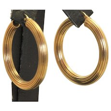 Italian 14 K Large Textured Hoop Earrings