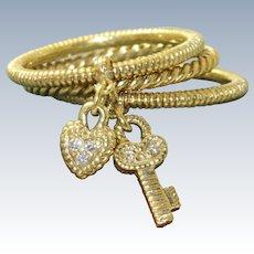 Estate 18 K 0.33 CT Judith Ripka Heart and Key Ring