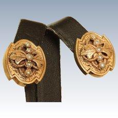 Estate 14 K  Pearl Victorian Revival Omega Earrings