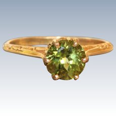 Estate 10 K 1 CT Peridot Detailed Ring