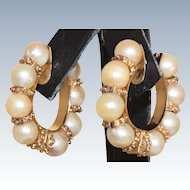Estate 14 K Cultured Pearl Hoop Earrings
