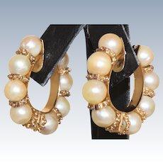 Estate 14 K Cultured Pearl Hoop Earrings