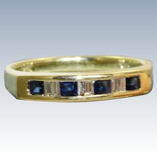 Estate 14 K Sapphire and Diamond Band