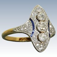18 K/Platinum 1920's Diamond and Sapphire Dinner Ring