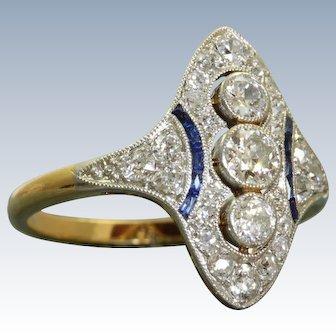 18 K/Platinum 1920's Diamond and Sapphire Dinner Ring