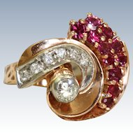 14 K Rose Gold Retro Ruby and Diamond Ring