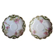 Coiffe Limoges France porcelain plate set, 1890s