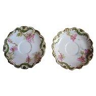 Coiffe Limoges France porcelain plate set, 1890s