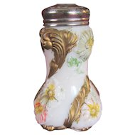 "Sugar shaker Victorian muffineer, Decorated milk Glass, ""Flower blooming"""