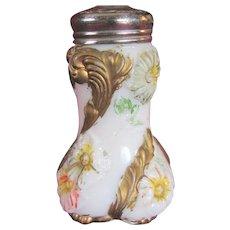 "Sugar shaker Victorian muffineer, Decorated milk Glass, ""Flower blooming"""