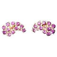 Coro signed Vintage jewelry, amethyst goldtone earrings