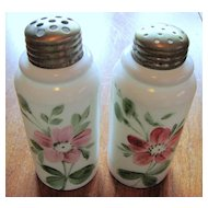 Victorian Art Glass shakers, Creased neck pillar, Hand-painted opalware salt / pepper set