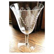 Tiffin Elegant glass Goblet, Charmian etched crystal