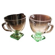 Depression Glass Fostoria 'Deco' 4020 pattern, creamer sugar set