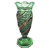 U.S. Glass, Eapg, Green and Gold Vase, Band and Diamond Swirl