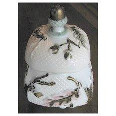Northwood Victorian Art Glass 'Netted Oak' covered sugar, Eapg
