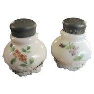 Victorian art Glass Gillinder shaker set, hand-painted