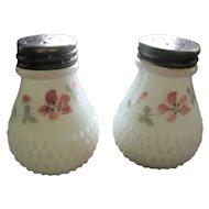 Victorian milk glass salt shaker set, Diamond base, Sawtooth
