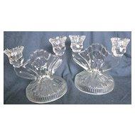 Jeanette Glass Iris and Herringbone candlestick set