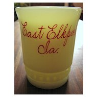Heisey custard glass Punty Band tumbler, antique souvenir
