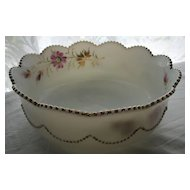Heisey Eapg milk Glass, 'Bead Swag' bowl, handpainted
