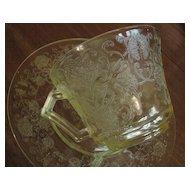 Depression Glass Florentine #2, Yellow cup saucer set, Hazel Atlas