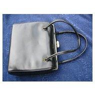 Leather handbag, Vintage purse black