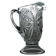 'Feathered Ovals' pattern glass pitcher