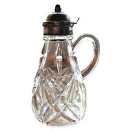 Eapg Tarentum Glass Victorian syrup, 'Beveled Diamond and Star' pattern