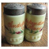 Heisey custard Eapg glass, 'Punty band' Victorian shaker set, souvenir