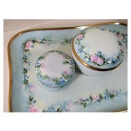 Limoges France, antique Vanity Dresser set, hand-painted porcelain