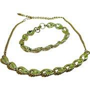 Coro jewelry Vintage demi-parure, goldtone set, Excellent, signed