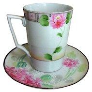 Nippon porcelain cup saucer set, Japan Jonroth studios