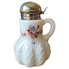 Victorian milk glass syrup pitcher, Dithridge Alba pattern, hand-painted