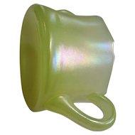 Stretch glass sugar, U.S. Glass Co., iridescent yellow