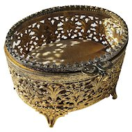 Ormolu jewelry casket, gold gilt filigree, Matson