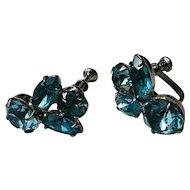 Vintage blue glass stone earrings, silvertone screw-back